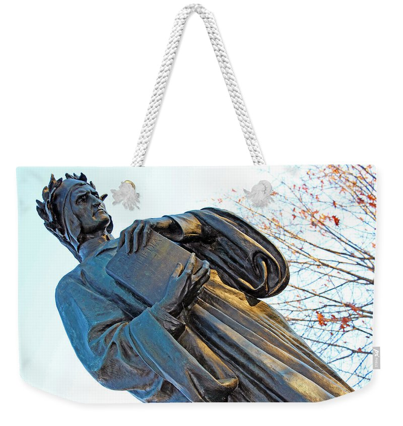 Dante Weekender Tote Bag featuring the photograph Dante In Meridian Hill Park by Cora Wandel