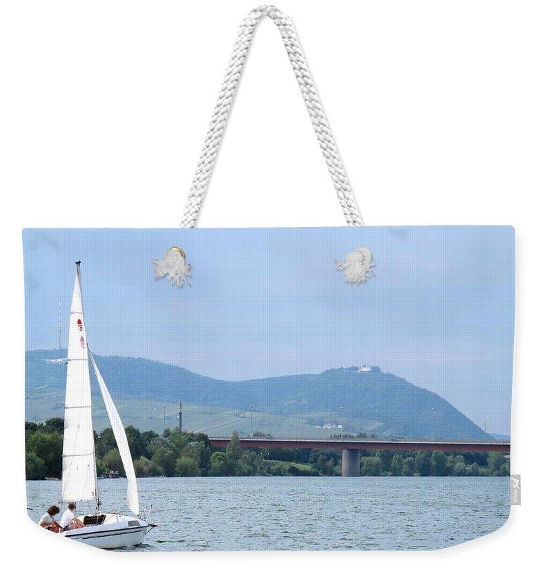 Sail Weekender Tote Bag featuring the photograph Danube River Sailor by Ian MacDonald