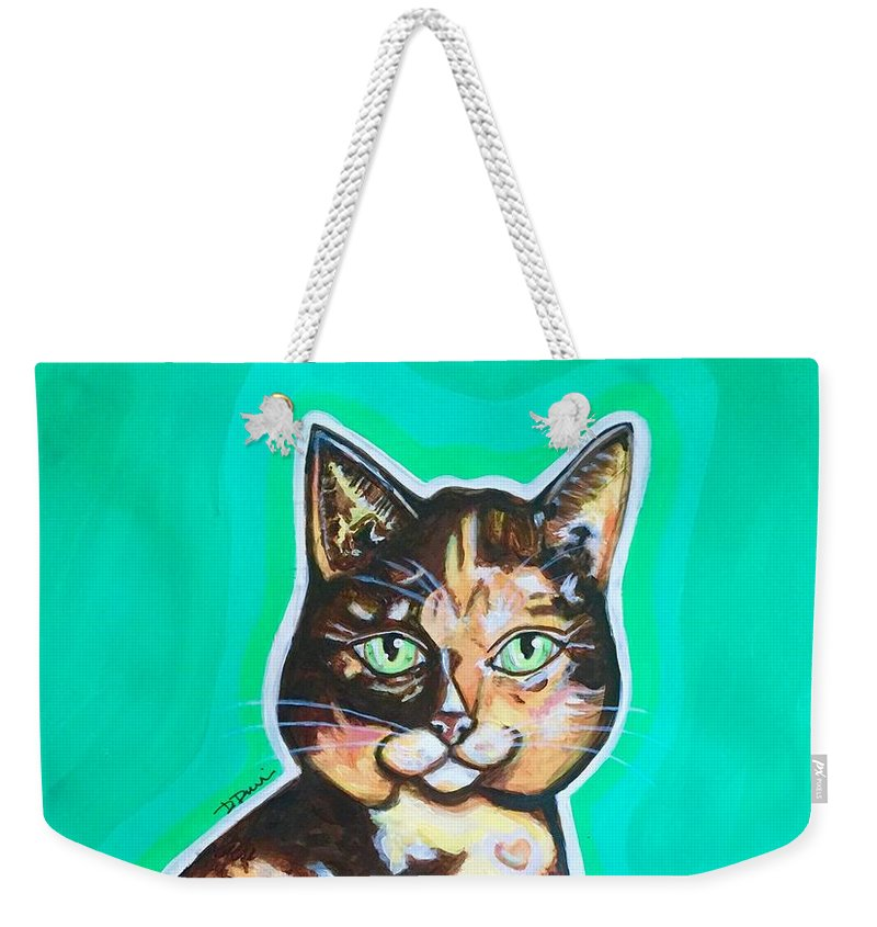 Calico Cats Weekender Tote Bag featuring the painting Daphne The Calico Cat by Dori Durbin