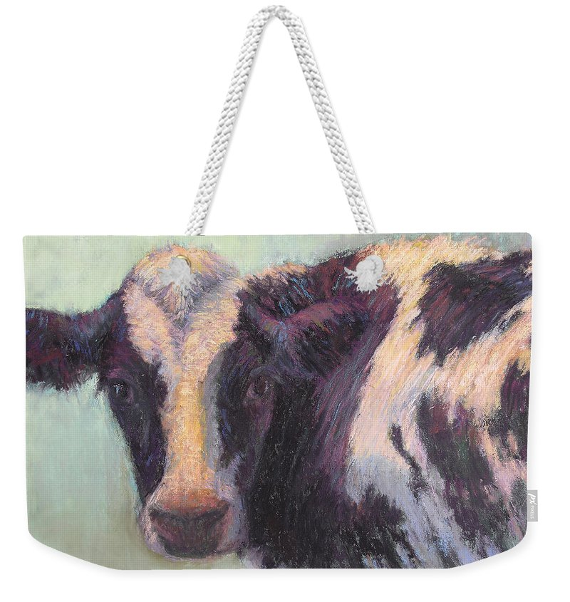 Cows Weekender Tote Bag featuring the painting Daphney by Susan Williamson