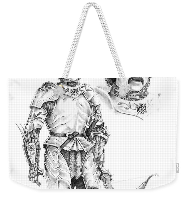 Knight Weekender Tote Bag featuring the drawing Daria by Melissa A Benson