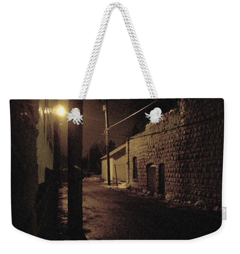 Alley Weekender Tote Bag featuring the photograph Dark Alley by Tim Nyberg