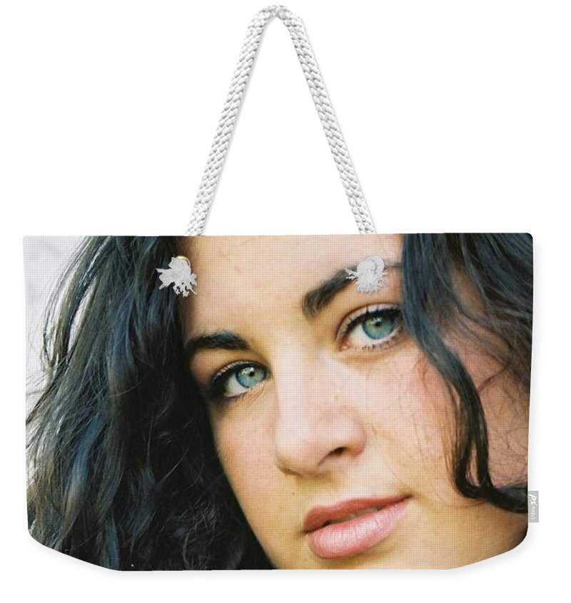 Blue Eyes Weekender Tote Bag featuring the photograph Dark Beauty by Nadine Rippelmeyer
