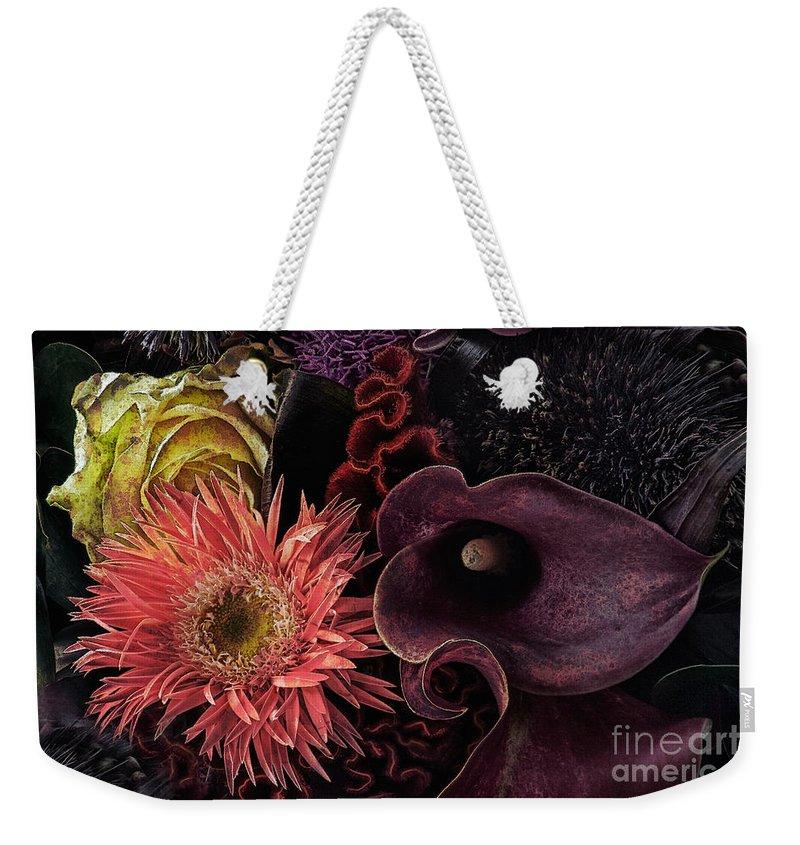 Botanical Weekender Tote Bag featuring the photograph Dark Bouquet by Ann Garrett