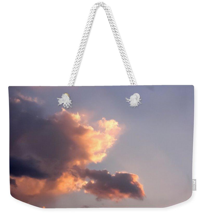 Dark Clouds Fringed With Light Weekender Tote Bag featuring the photograph Dark Clouds Fringed With Light by Cynthia Woods