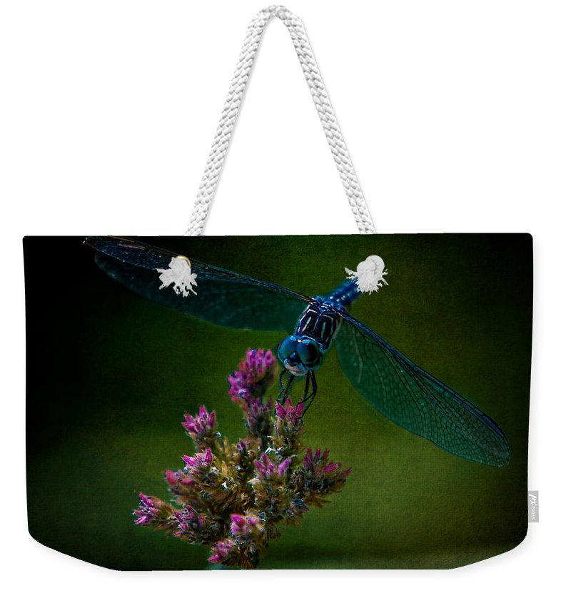 Dragonfly Weekender Tote Bag featuring the photograph Dark Dragonfly by Chris Lord
