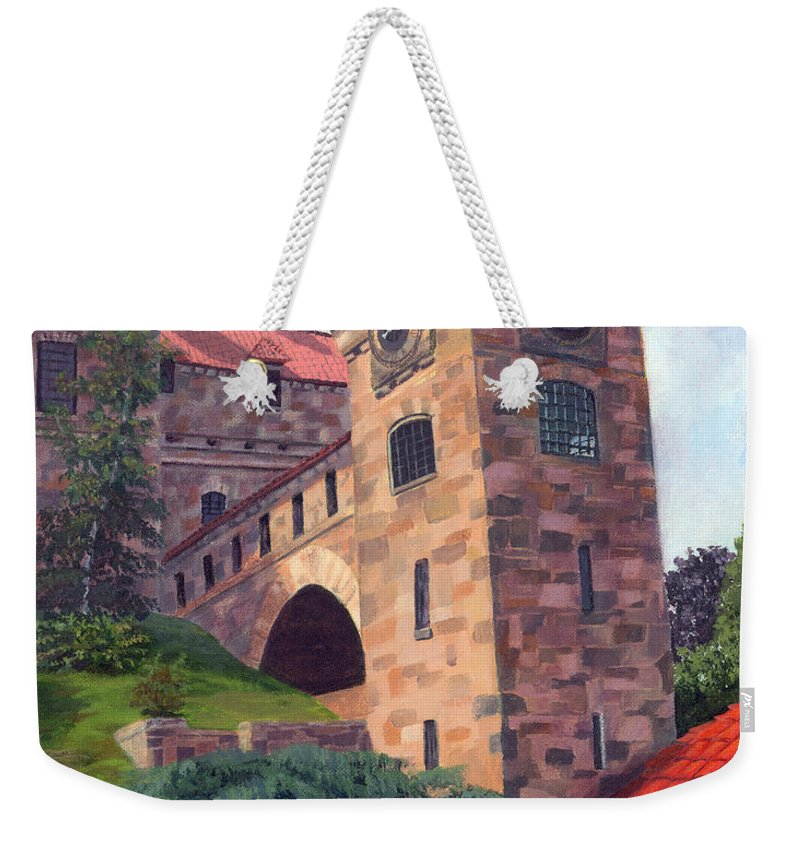 Acrylic Weekender Tote Bag featuring the painting Dark Island Resident by Lynne Reichhart
