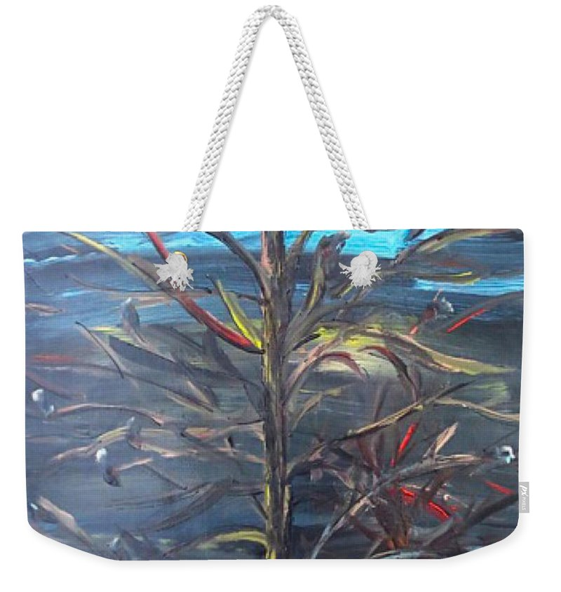 Trees Weekender Tote Bag featuring the painting Dark Knight Brings Light by Paula Baker