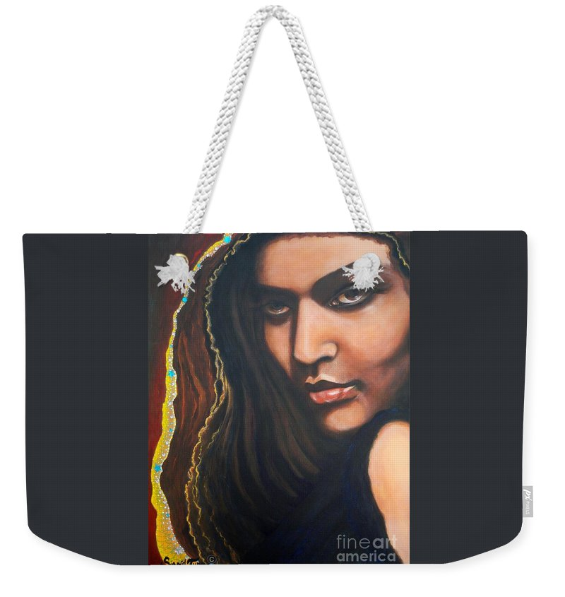 Portrait Latin Girl Weekender Tote Bag featuring the painting    Dark Soulful Latin Eyes     From The Attitude Girls by Sigrid Tune