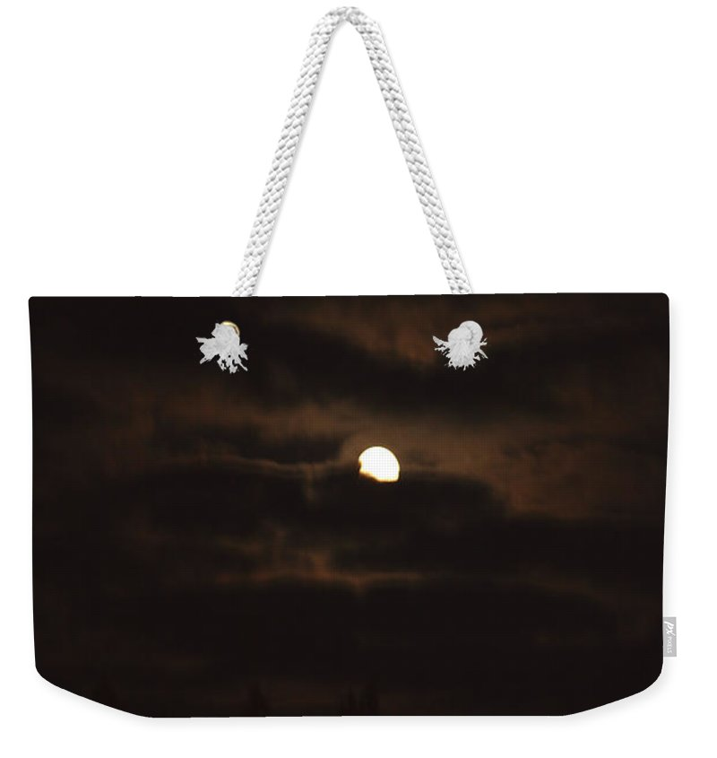 Moon Clouds Night Evening Light Cloudy Sky Trees Moonlight Moonlit Weekender Tote Bag featuring the photograph Dark Night by Andrea Lawrence