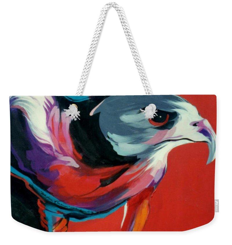 Raptor Weekender Tote Bag featuring the painting Dark Phase Of Swainson by Marlene Burns