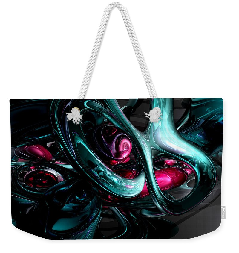 3d Weekender Tote Bag featuring the digital art Dark Secrets Abstract by Alexander Butler