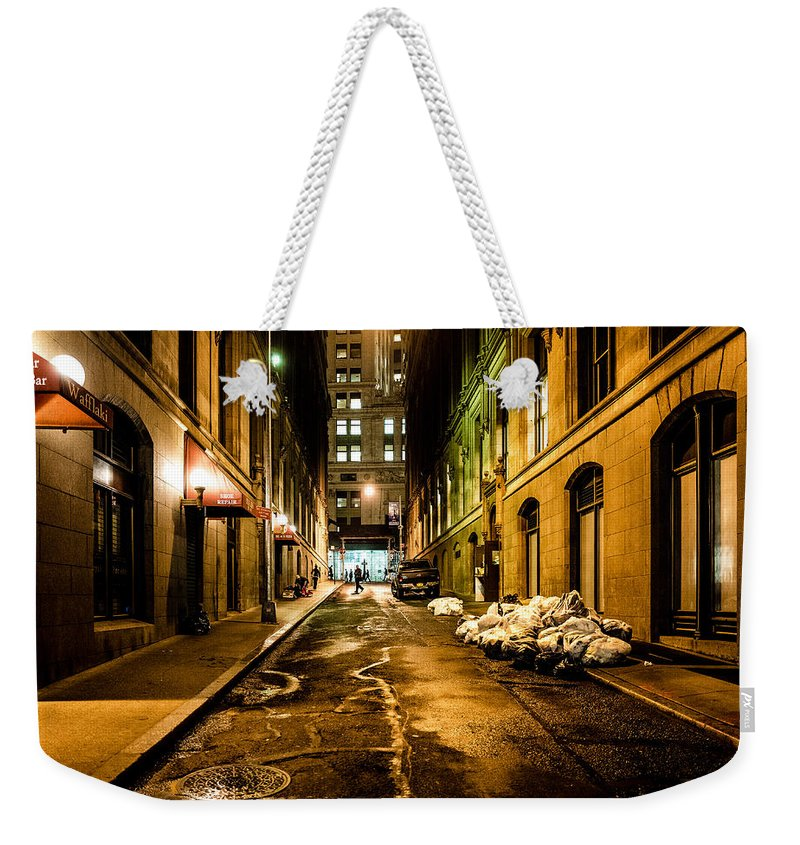 New York Weekender Tote Bag featuring the photograph Dark Street by M G Whittingham
