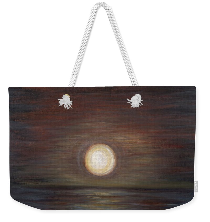Sunset Weekender Tote Bag featuring the painting Dark Sunset by Nadine Rippelmeyer