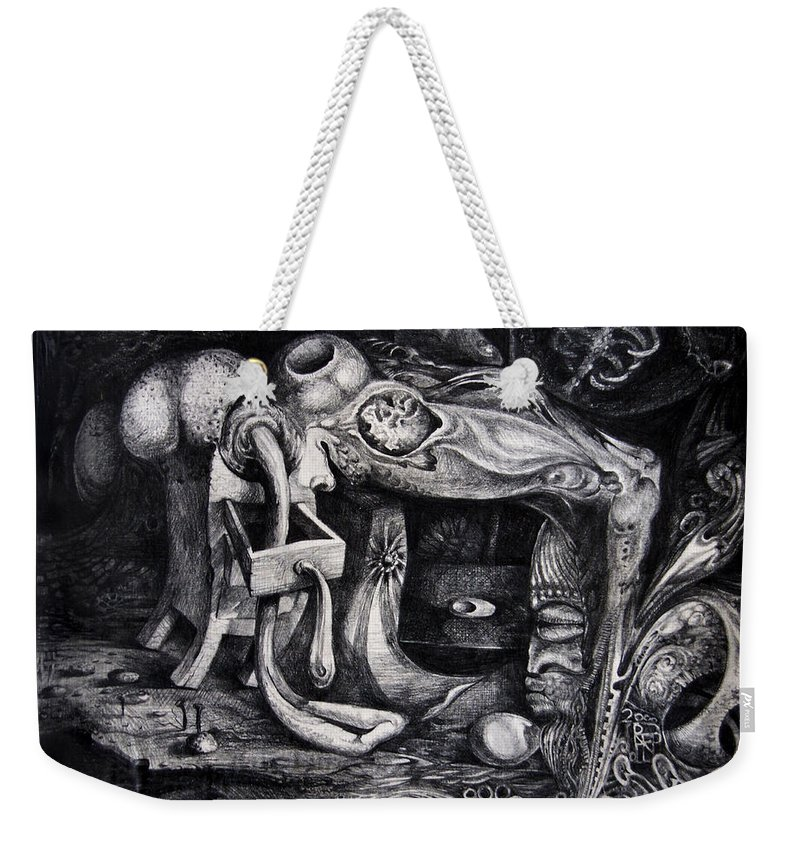 Drawing Weekender Tote Bag featuring the drawing Dark Surprise by Otto Rapp