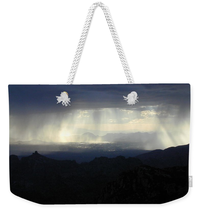 Darkness Weekender Tote Bag featuring the photograph Darkness Over The City by Douglas Barnett