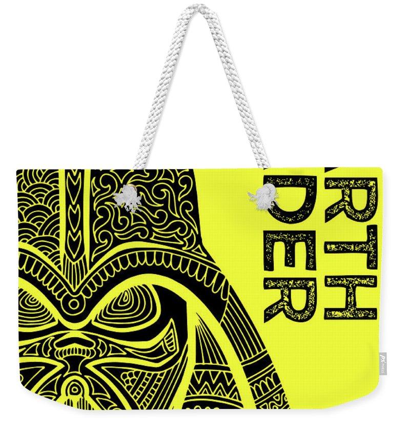 Darth Vader Weekender Tote Bag featuring the mixed media Darth Vader - Star Wars Art - Yellow by Studio Grafiikka