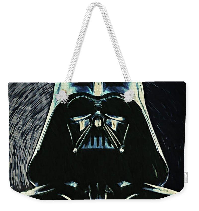 Darth Vader Weekender Tote Bag featuring the digital art Darth Vader by Zapista