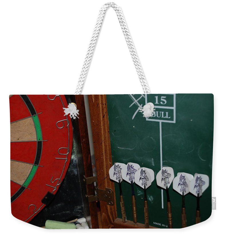 Macro Weekender Tote Bag featuring the photograph Darts And Board by Rob Hans