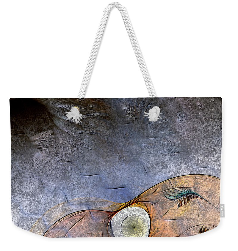 Abstract Weekender Tote Bag featuring the digital art Darwin's Dilemma by Casey Kotas