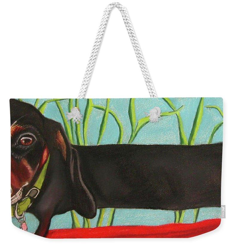 Dog Painting Weekender Tote Bag featuring the pastel Dash Hound by Michelle Hayden-Marsan