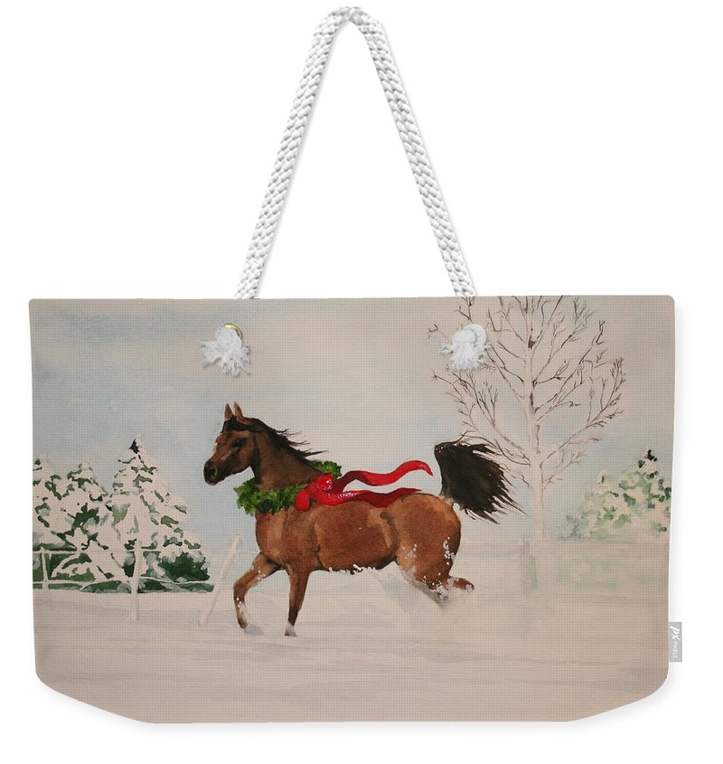 Horse Weekender Tote Bag featuring the painting Dashing Thru The Snow by Jean Blackmer