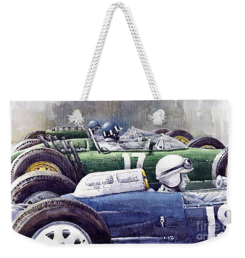 Watercolour Weekender Tote Bag featuring the painting Datch Gp 1962 Lola Brm Lotus by Yuriy Shevchuk