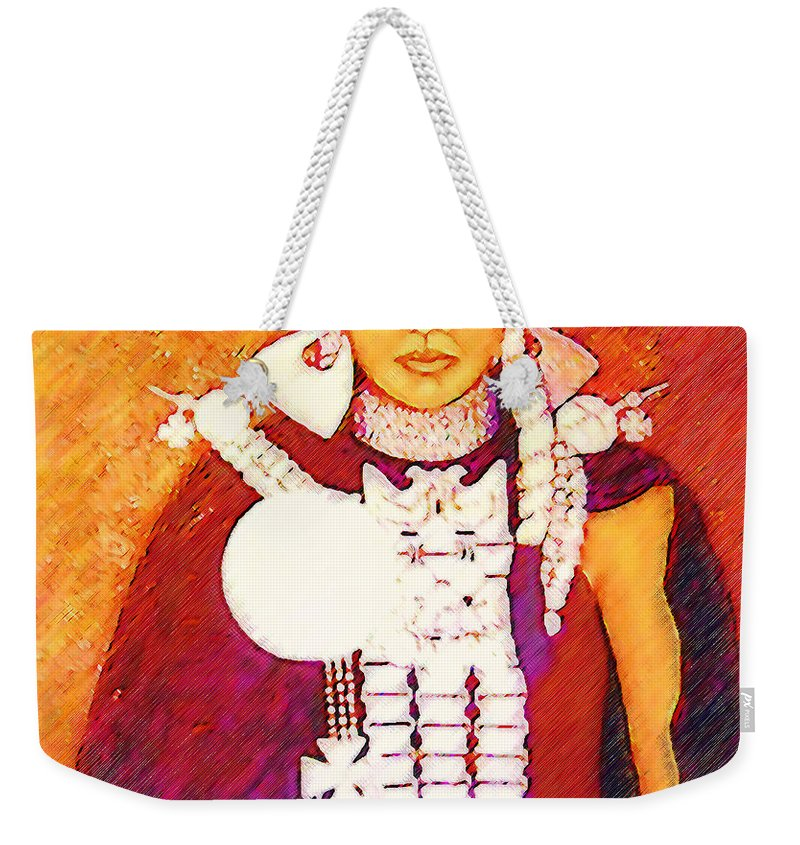 Portrait Weekender Tote Bag featuring the painting Daughter Of The Bright Sun - Kushe by Madalena Lobao-Tello