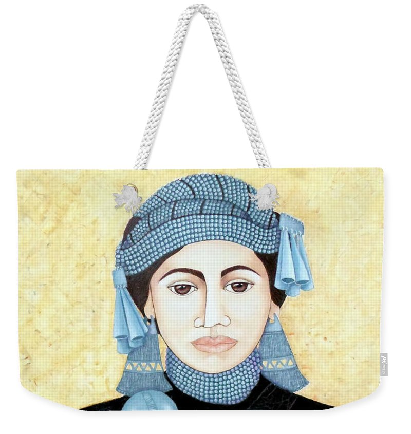 Mujer Mapuche Weekender Tote Bag featuring the painting Daughter Of The Sun by Madalena Lobao-Tello