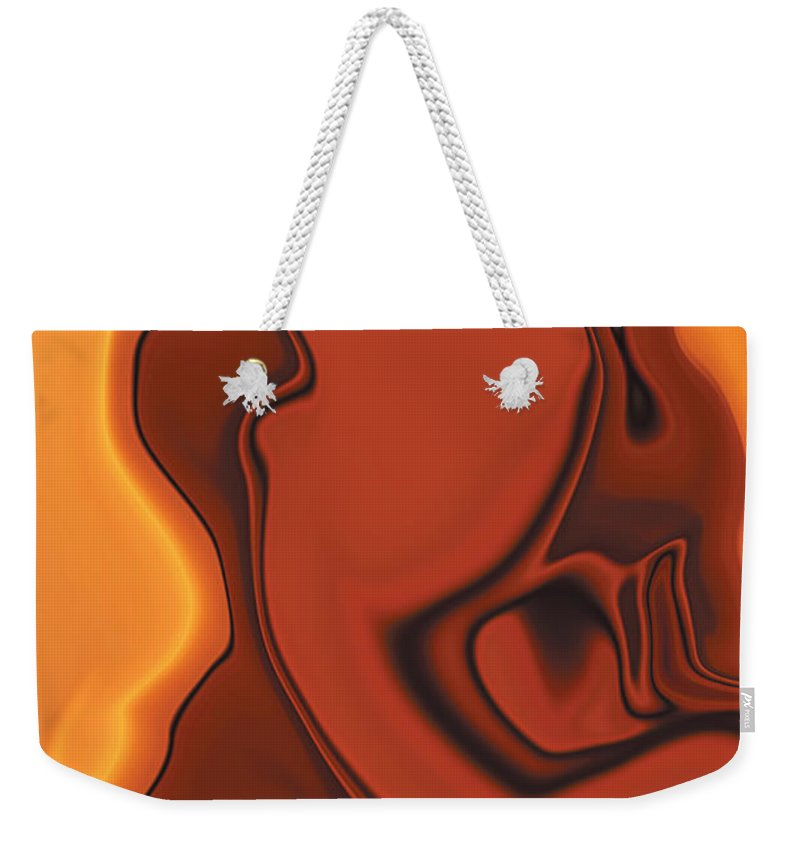 Abuse Adverse Art Beauty Brown Copper Digital Girl Golden Human Orange Red Right Venus Violence Wall Weekender Tote Bag featuring the digital art Daughter Of Venus by Rabi Khan