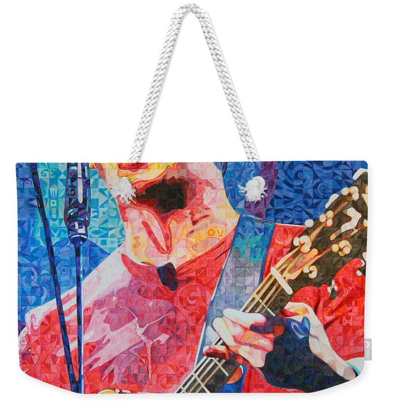 Dave Matthews Weekender Tote Bag featuring the drawing Dave Matthews Squared by Joshua Morton