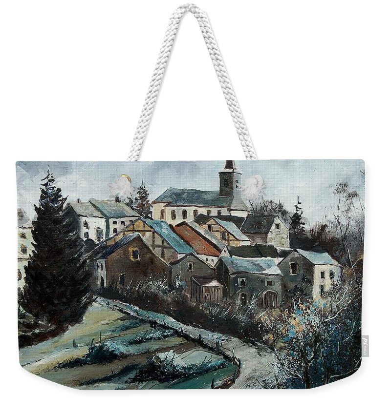 Village Weekender Tote Bag featuring the painting Daverdisse 78 by Pol Ledent