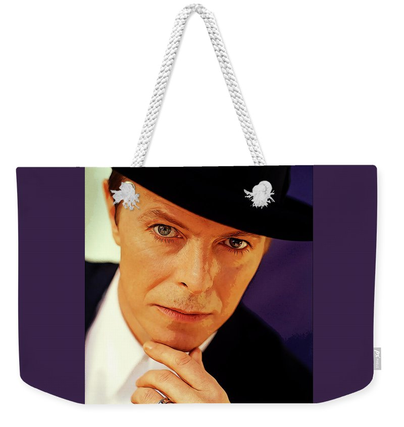 Music Weekender Tote Bag featuring the painting David Bowie as an Average Everyman by Elaine Plesser