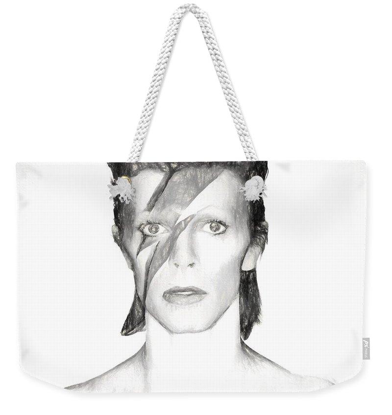 David Bowie Charcoal Weekender Tote Bag featuring the mixed media David Bowie Charcoal by Dan Sproul