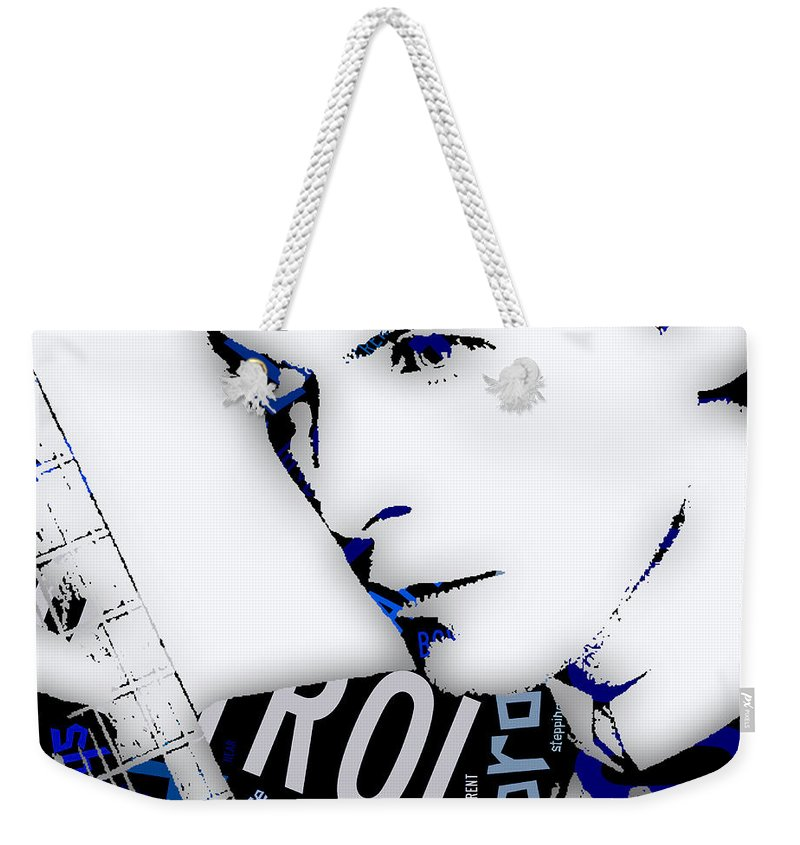 David Bowie Weekender Tote Bag featuring the mixed media David Bowie Ground Control To Major Tom by Marvin Blaine