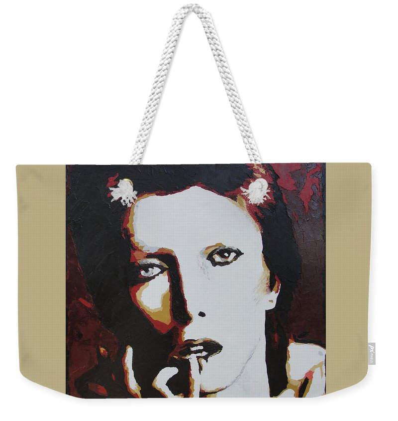 David Bowie Weekender Tote Bag featuring the painting David Bowie by Ricklene Wren