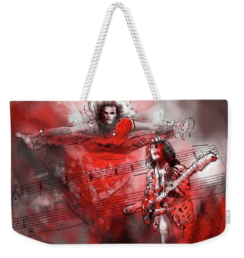 Music Weekender Tote Bag featuring the painting David Lee Roth And Eddie Van Halen Jump by Miki De Goodaboom