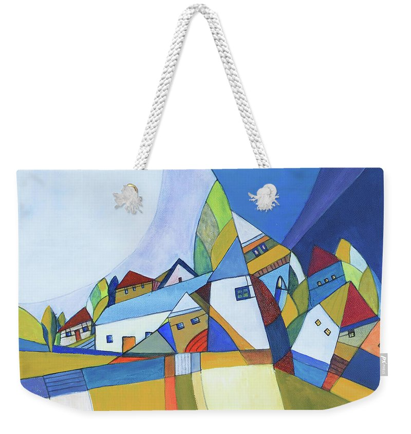 Acrylic Weekender Tote Bag featuring the painting Dawn by Aniko Hencz