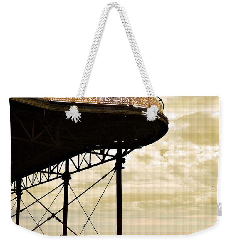 Victoria Weekender Tote Bag featuring the photograph Dawn At Colwyn Bay Victoria Pier Conwy North Wales Uk by Mal Bray