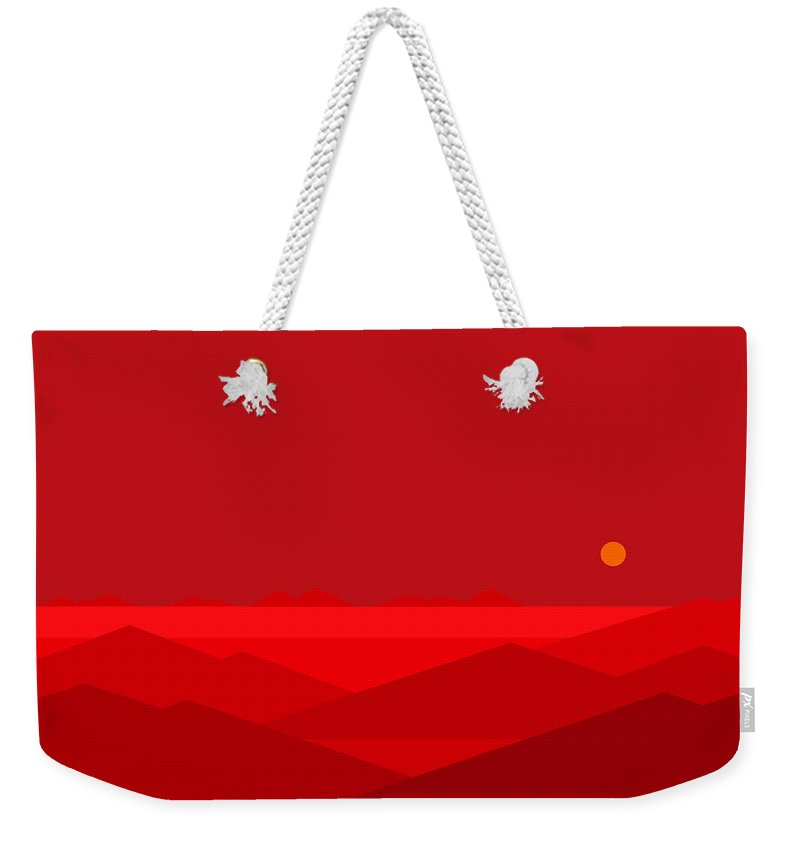 Dawn Breaks In Red Weekender Tote Bag featuring the digital art Dawn Breaks In Red by Val Arie