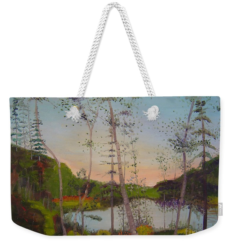 Landscape Weekender Tote Bag featuring the painting Dawn By The Pond by Lilibeth Andre