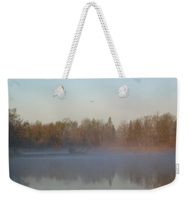 Mississippi River Weekender Tote Bag featuring the photograph Dawn Fog Over Mississippi River by Kent Lorentzen
