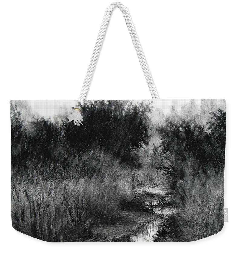 Charcoal Weekender Tote Bag featuring the drawing Dawn Marsh by Keith Burgess