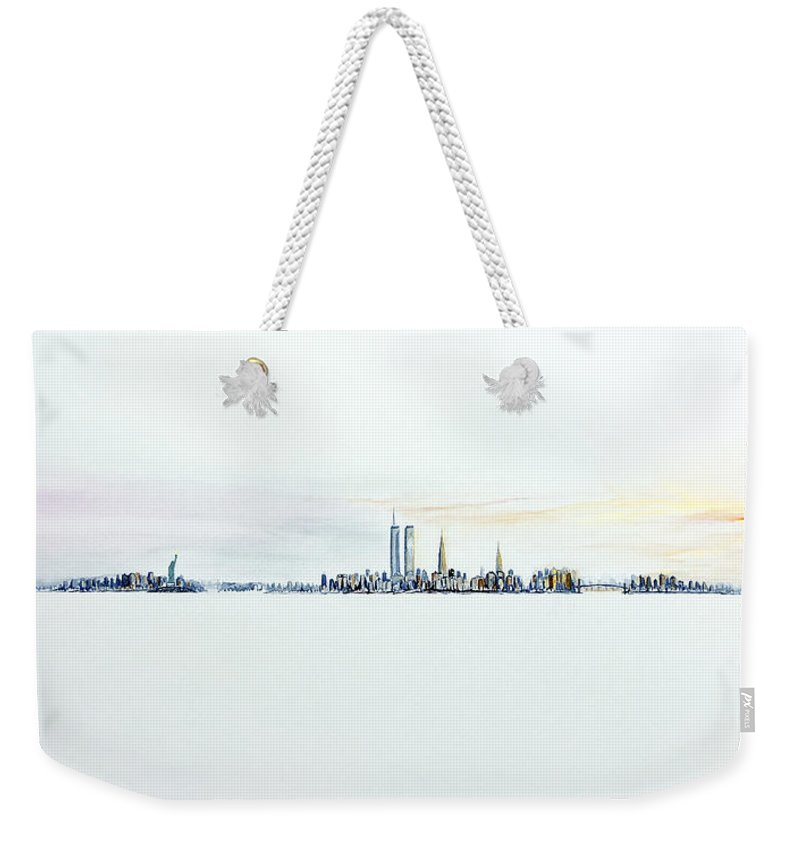 Twin Towers Weekender Tote Bag featuring the painting Dawn New York City by Jack Diamond