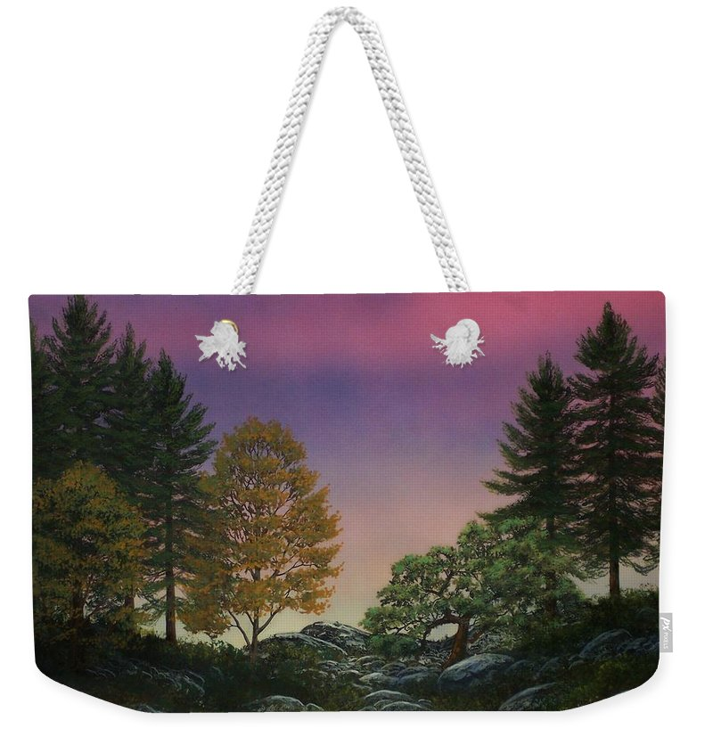 Mountains Weekender Tote Bag featuring the painting Dawn Of Day by Frank Wilson
