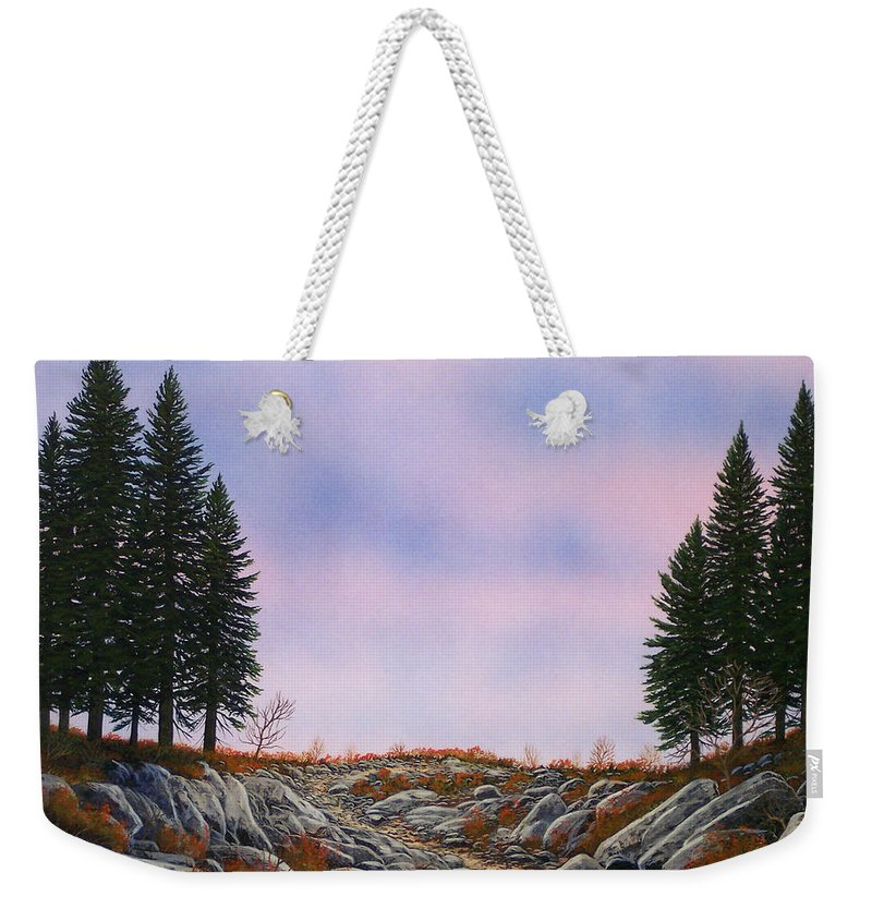 Landscape Weekender Tote Bag featuring the painting Dawn Pacific Crest Trail by Frank Wilson