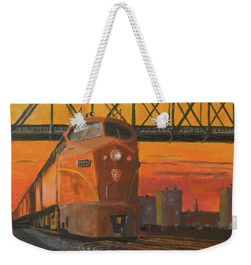 Train Weekender Tote Bag featuring the painting Dawn Patrol by Christopher Jenkins