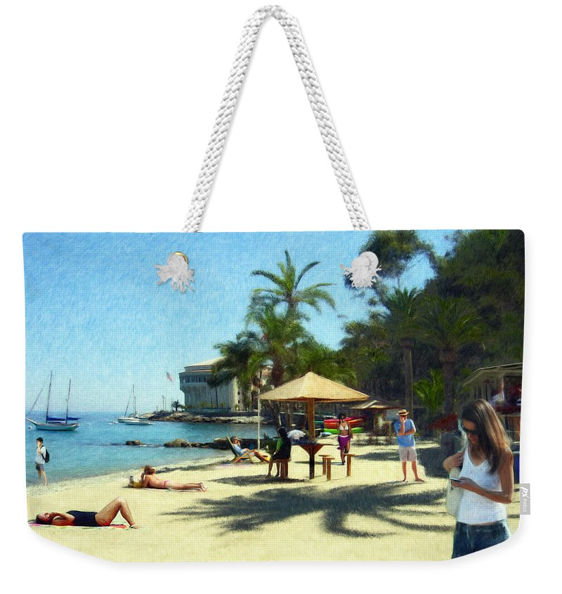 Beach Weekender Tote Bag featuring the digital art Day At The Beach by Snake Jagger