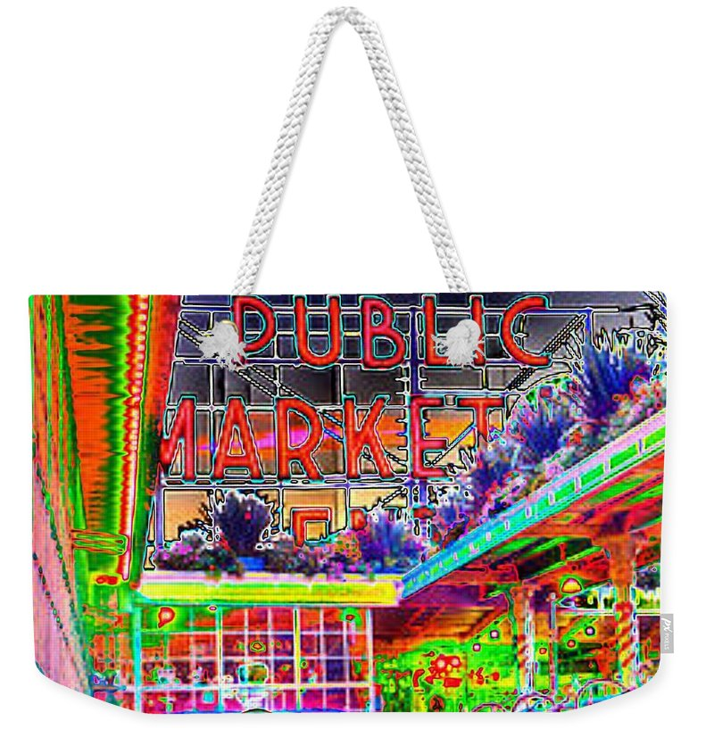 Seattle Weekender Tote Bag featuring the photograph Day At The Market by Tim Allen