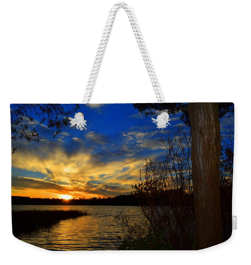 Lake Weekender Tote Bag featuring the photograph Day Is Done by Dianne Cowen
